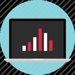 bars, computer, data, graph, laptop, report, screen icon