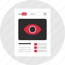 eye, mockup, page, views, web, youtube icon