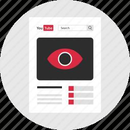 eye, mockup, page, views, web, youtube icon