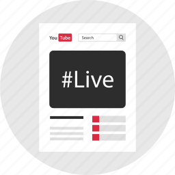 event, hashtag, live, mockup, page, stream, youtube icon