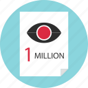 analytics, eye, members, million, one, views icon