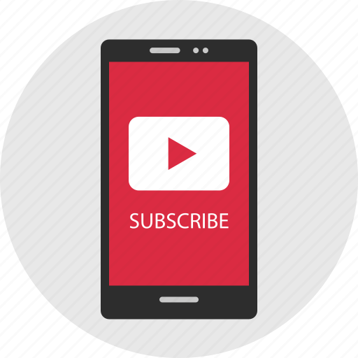 cell, channel, moble, phone, play, subscribe icon