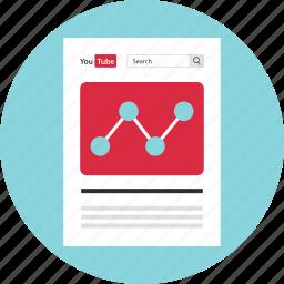 analytics, data, mockup, page, web, youtube icon