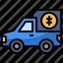 bill, cash, money, pay, truck
