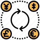 currency, euro, exchange, finances, yen icon