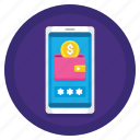 mobile, mobile wallet, online, purse, wallet icon