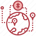 abroad, business, dollar, finance, map icon