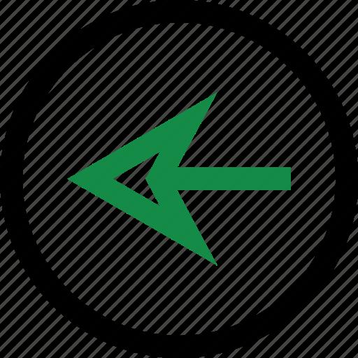 back, left, pointer icon