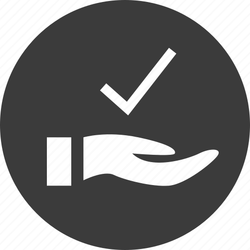 check, hand, mark, safe, secured icon