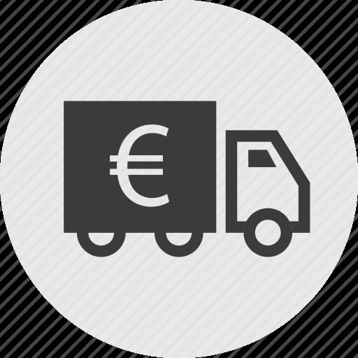 euro, ship, shipping, sign, truck icon