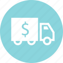 dollar, money, shipping, sign, truck icon