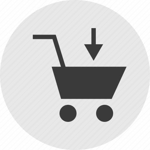 arrow, cart, down, point, shooping icon
