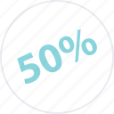 half, off, percent, savings icon