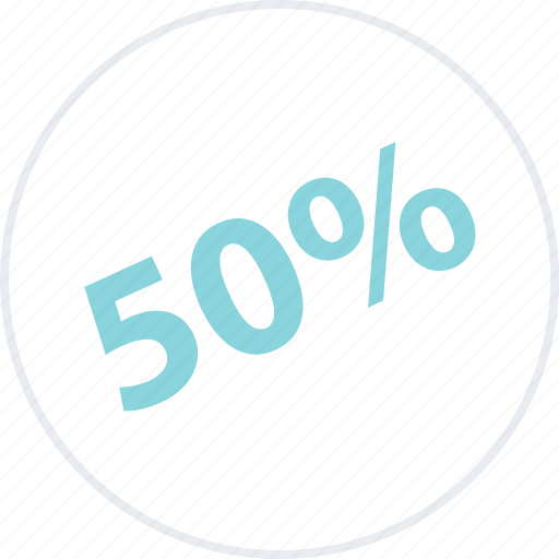 half, off, percent, savings icon