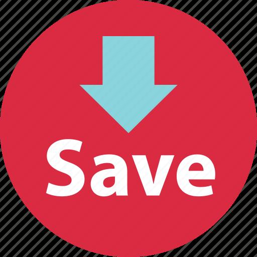 down, pointing, saving icon