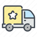 brand, delivery, product, shop, star, truck, van icon
