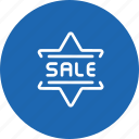 badge, discount, label, sale, shopping, star icon