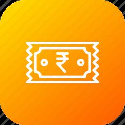 bill, fees, money, prise, receipt, ruppee, ticket icon