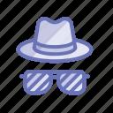 detective, spy, style, fashion, investigate, goggles, hat icon