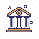 bank, coin, dollar, house, pillars icon