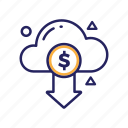 arrow, cloud, coin, dollar, get, money icon