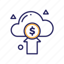 arrow, cloud, dollar coin, money, send icon