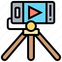 broadcast, live, smartphone, stream, video icon