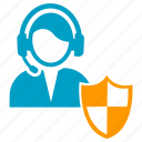 headset, male, security, shield, support icon