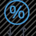 analytics, arrow, down, up