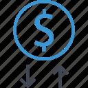 analyze, arrows, coin, money icon