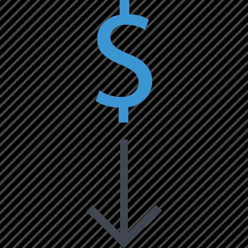 arrow, dollar, down, revenue icon