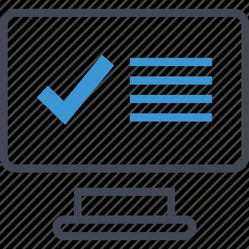check, computer, monitor icon