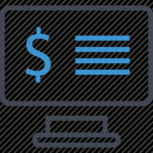 computer, dollar, screen icon