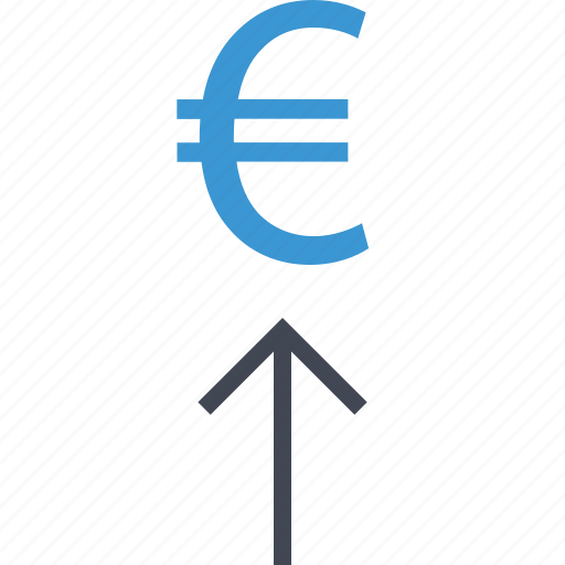 arrow, euro, money, sign icon