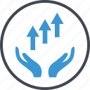 arrows, good, hand, up icon