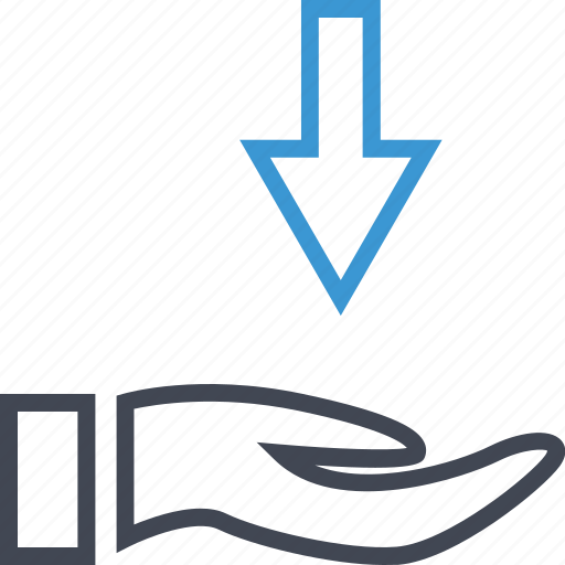 arrow, down, hand, hands icon