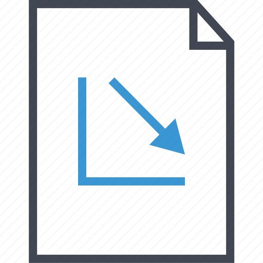 arrow, down, graph, layout icon