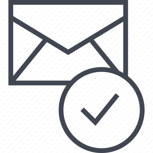checkmark, mailer, messaging icon