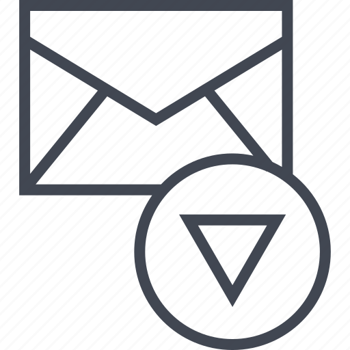 down, mailer, messaging icon