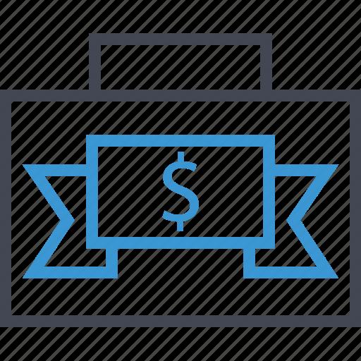 briefcase, case, money icon