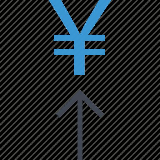 arrow, revenue, yen icon