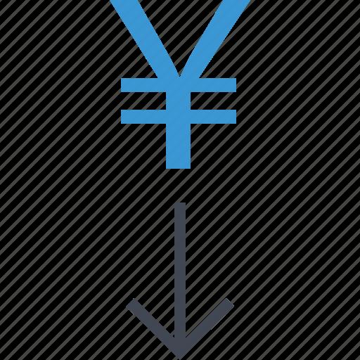 arrow, down, money, yen icon