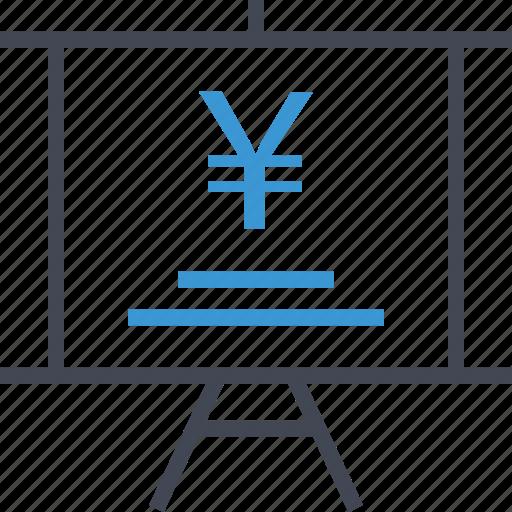 chart, presentaiton, yen icon