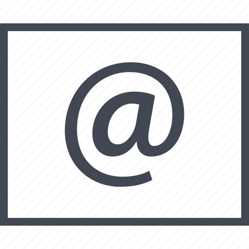 at, email, mail, message, send, sign, wireframe icon