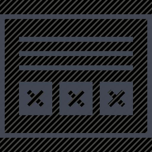 delete, error, errors, page, wireframes, x icon
