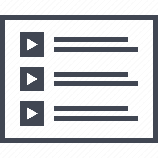 list, media, play, video, wireframe icon