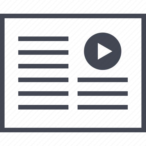 layout, media, music, page, play, video icon