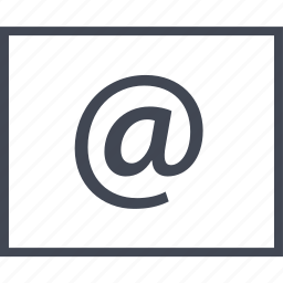 at, contact, email, mail, sign, us, wireframe icon