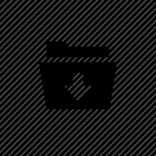 document, down, folder, open icon