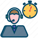 call, help, helpdesk, operator, service, support, time icon